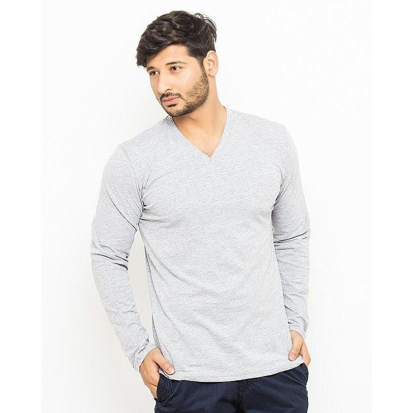 Grey cotton v neck full sleeves t shirt for men online for V neck t shirt online shopping