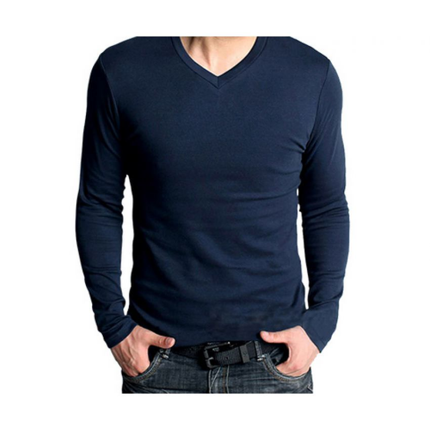 long sleeve navy blue v neck t shirt online shopping in