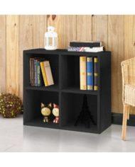 4-Cubby Bookcase Storage, Black